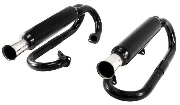 Dual Exhaust Black With Chrome Tips - W/O Heater