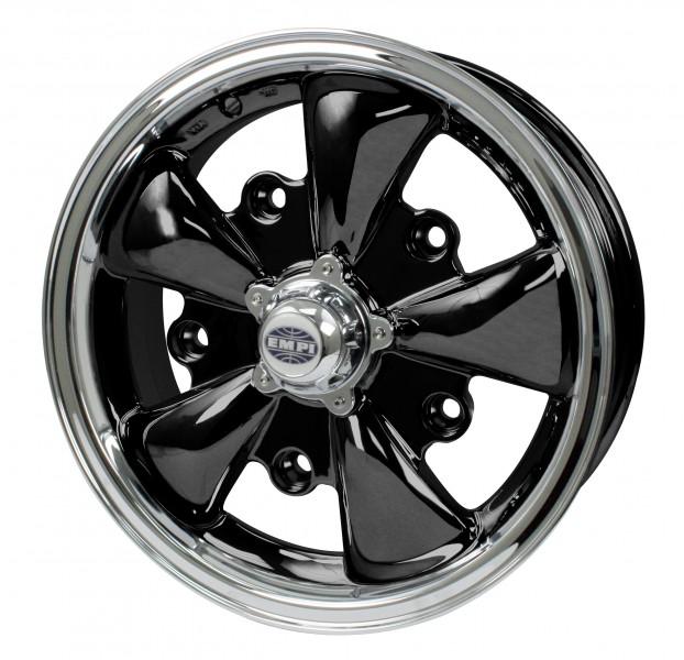 "EMPI 5 Spoke Wheel 5.5"" X 15"" Gloss Black W/ Polished Lip"