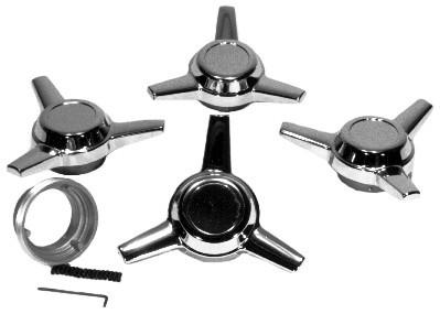 Chrome Spinners, Straight 3 Spoke, 4Pcs